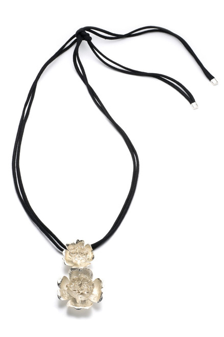 Buy  Josie Natori Silver Plated Brass Duo Flower Pendant from