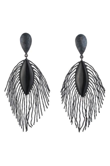 Buy Josie Natori Oxidized Brass Peacock Feather Earrings from