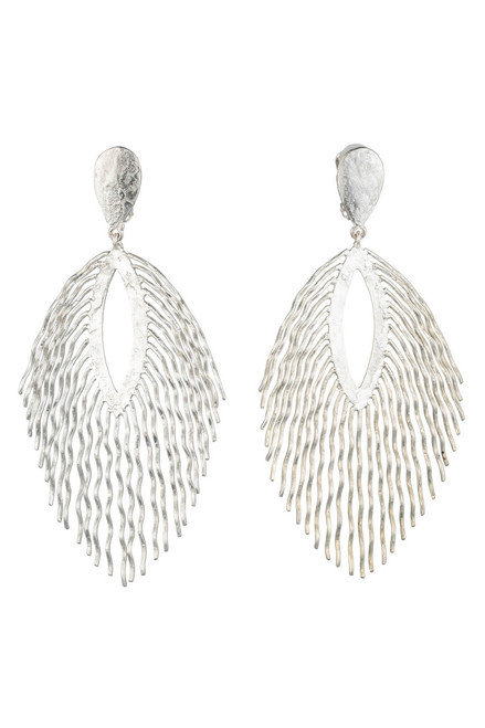 Josie Natori Silver Plated Brass Fringe Earrings at The Natori Company