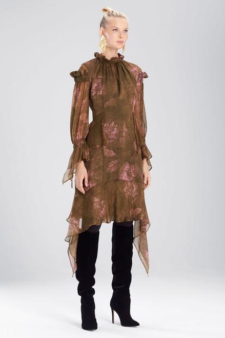 Buy Josie Natori Primrose Silk Chiffon Ruffle Neck Dress from