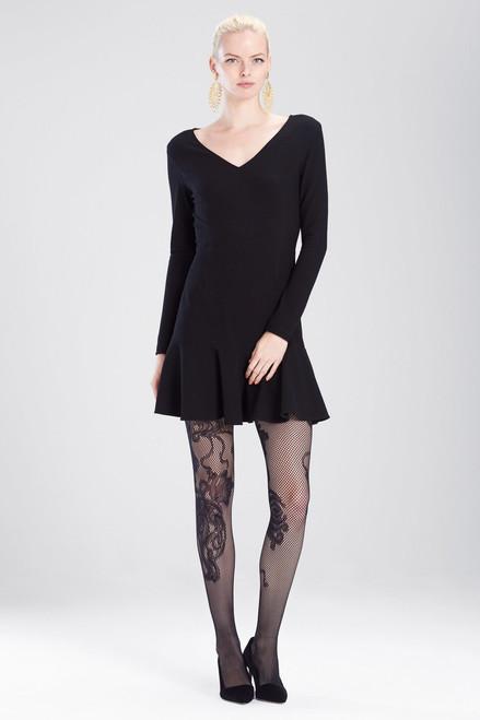 Buy Josie Natori Knit Crepe V-Neck Ruffle Hem Dress from