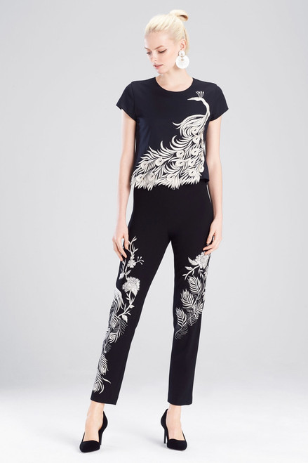 Buy Josie Natori Knit Crepe Pants With Peacock Embroidery from