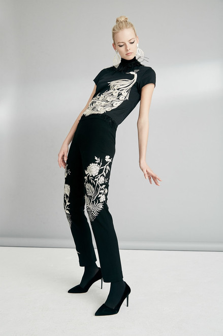 Josie Natori Knit Crepe Pants With Peacock Embroidery at The Natori Company