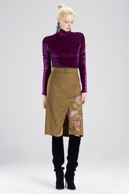 Josie Natori Stretch Twill Skirt at The Natori Company