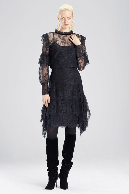 Buy Josie Natori Viscose Satin Lace Ruffle Skirt from