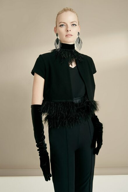 Josie Natori Knit Crepe Bolero With Feathers at The Natori Company