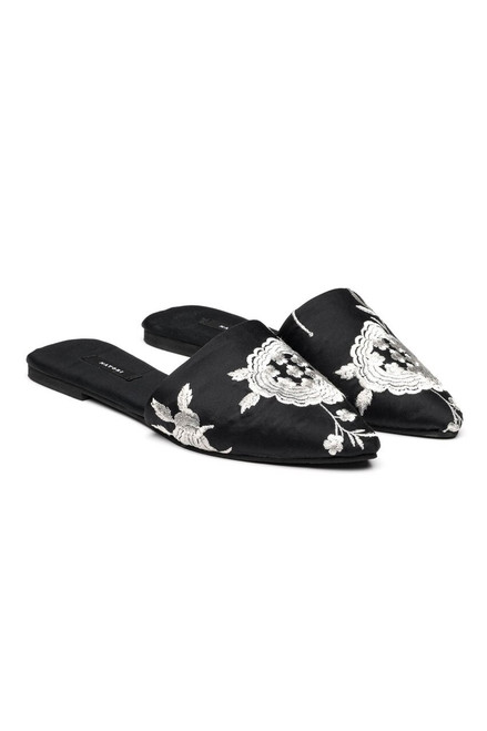 Satin Embroidered Mules
