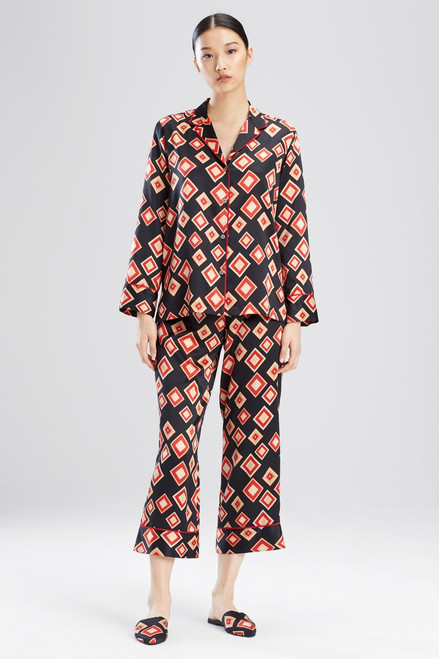 Natori Obi Printed Feathers Satin PJ at The Natori Company