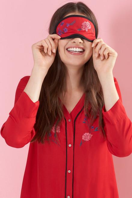 Josie Bardot Satin Embroidered PJ Set With Eyemask at The Natori Company
