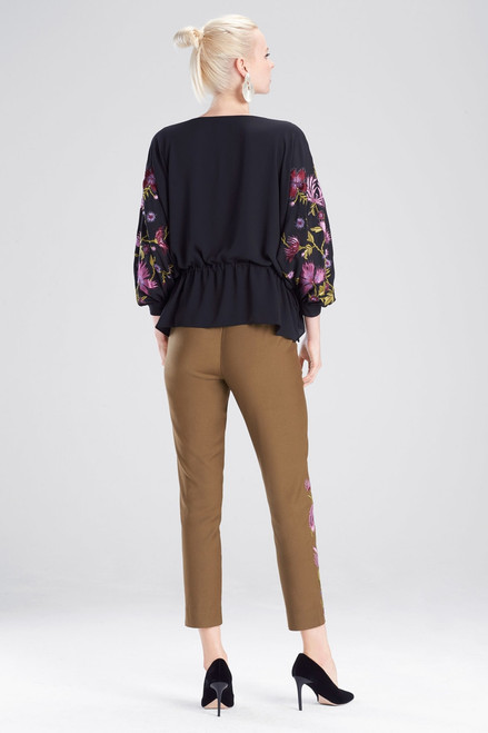 Josie Natori Silky Soft Poet Sleeve Embroidered Top  at The Natori Company