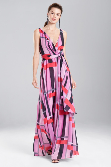 Buy Josie Natori Taisho Stripes Voile Maxi Dress from