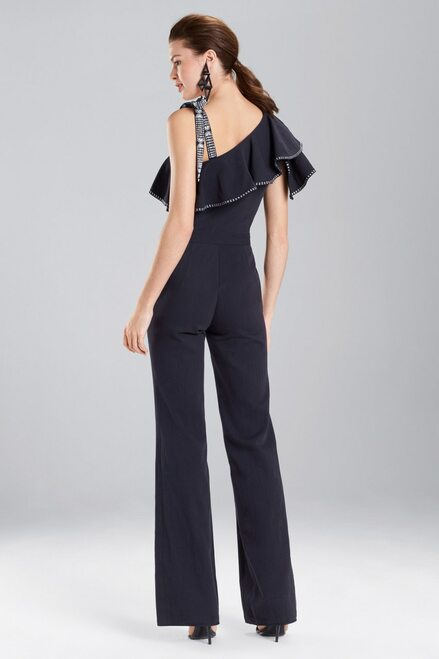 Josie Natori Denim Ruffle Jumpsuit at The Natori Company