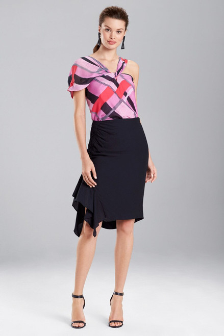 Buy Josie Natori Taisho Stripes Voile One-Shoulder Top from
