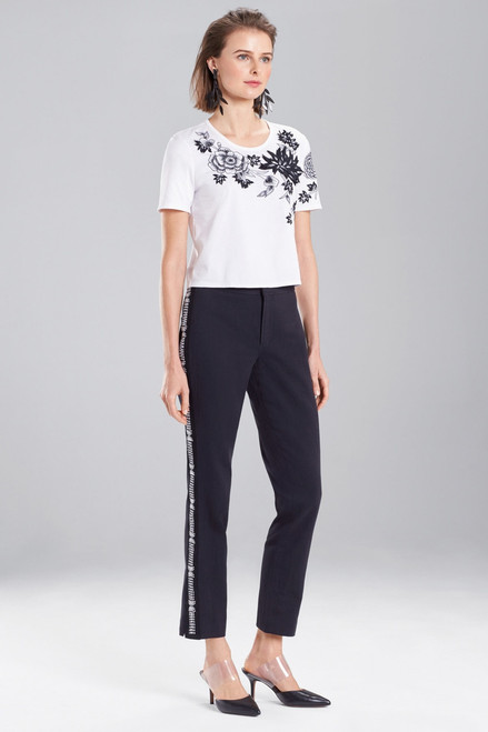 Josie Natori Novelty Tee's Embroidered Top at The Natori Company
