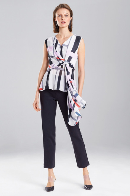Josie Natori Taisho Stripes Voile Knotted Top at The Natori Company