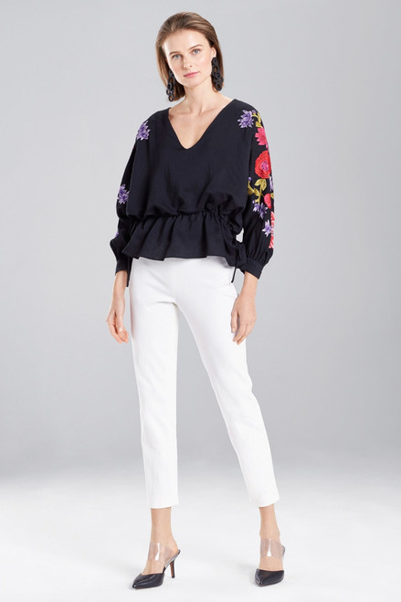 Buy Josie Natori Cotton Like Embroidered Poet Sleeve Top from