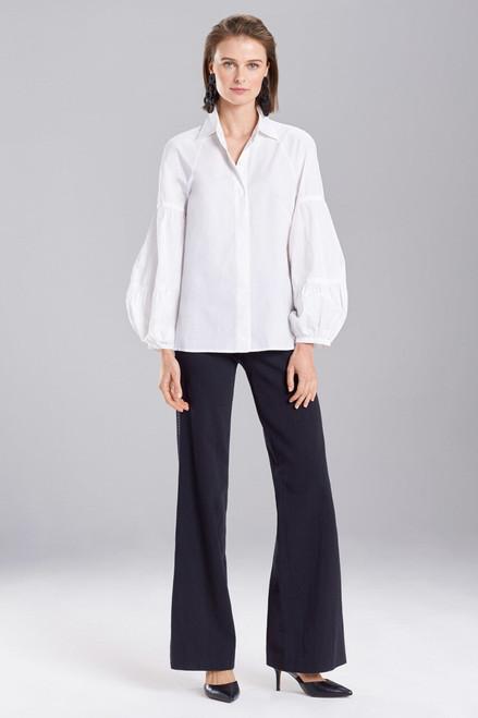 Buy Josie Natori Cotton Poplin Puffed Sleeve Top from