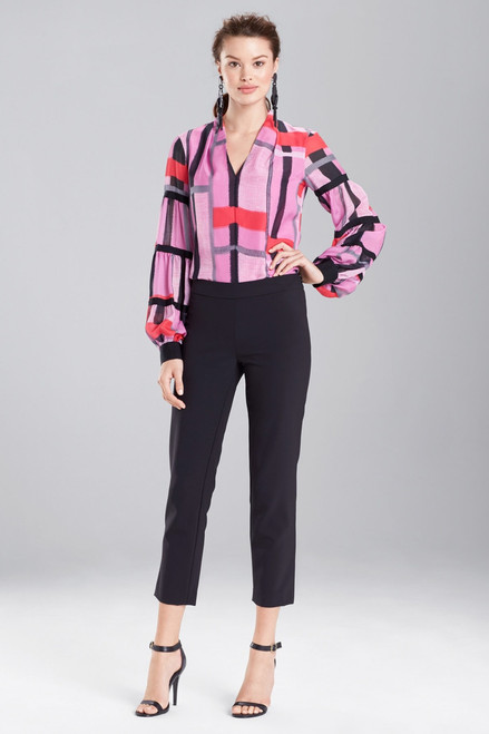 Buy Josie Natori Taisho Stripes Voile Grosgrain Top from