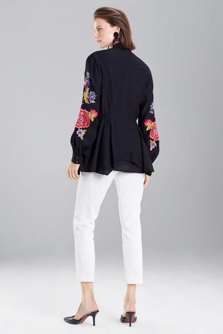 Josie Natori Cotton Like Embroidered Tunic Top at The Natori Company