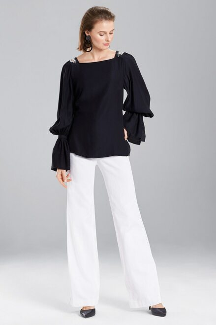 Josie Natori Cotton Like Grosgrain Top at The Natori Company