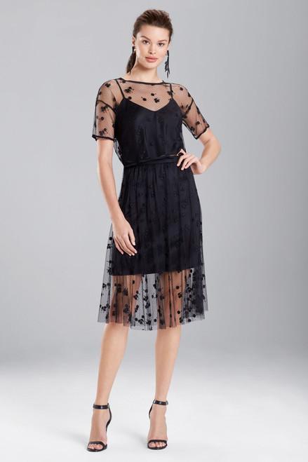 Josie Natori Embroidered Mesh Skirt at The Natori Company