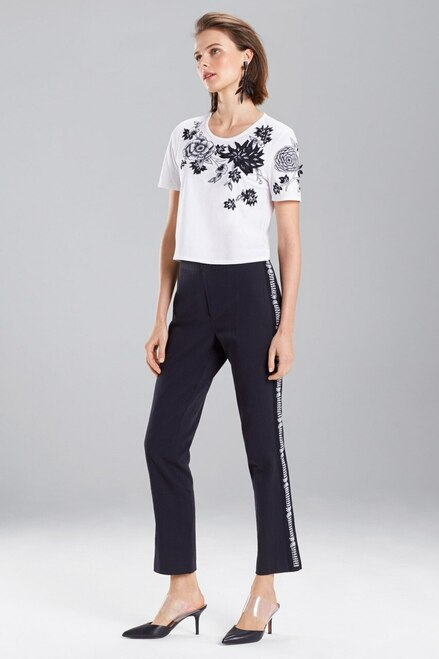 Josie Natori Denim Embroidered Pants at The Natori Company