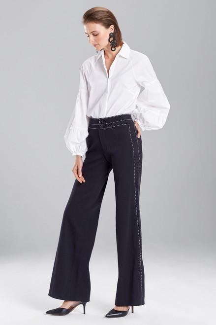 Josie Natori Denim Side Slit Pants at The Natori Company