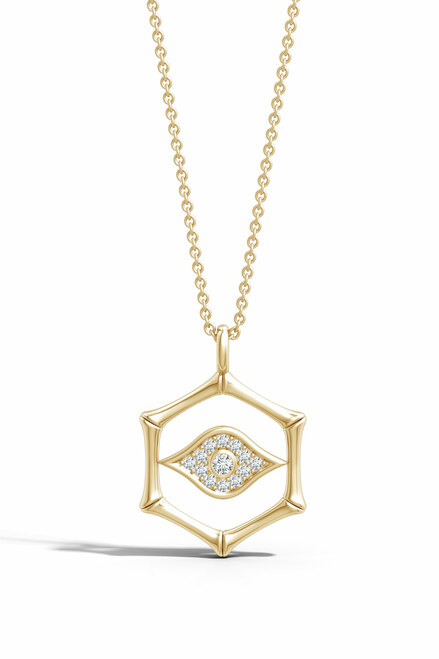 Indochine Spirit 14k Evil Eye Bamboo Hexagon Frame Diamond Necklace