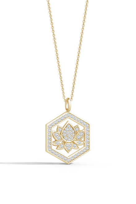 Indochine Spirit 14k Hexagon Frame Lotus Pave Diamond Pendant Necklace