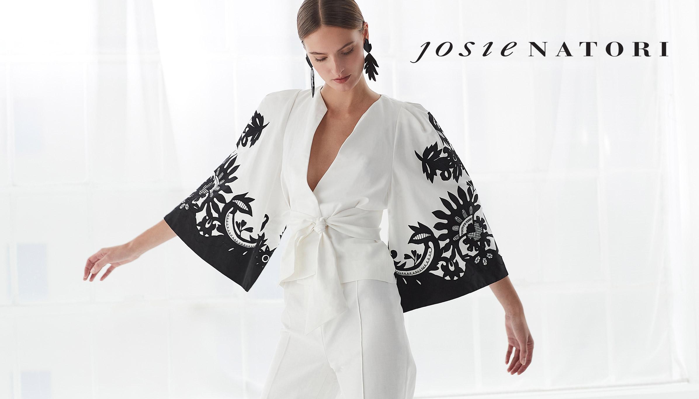 Model wearing Josie Natori Dress