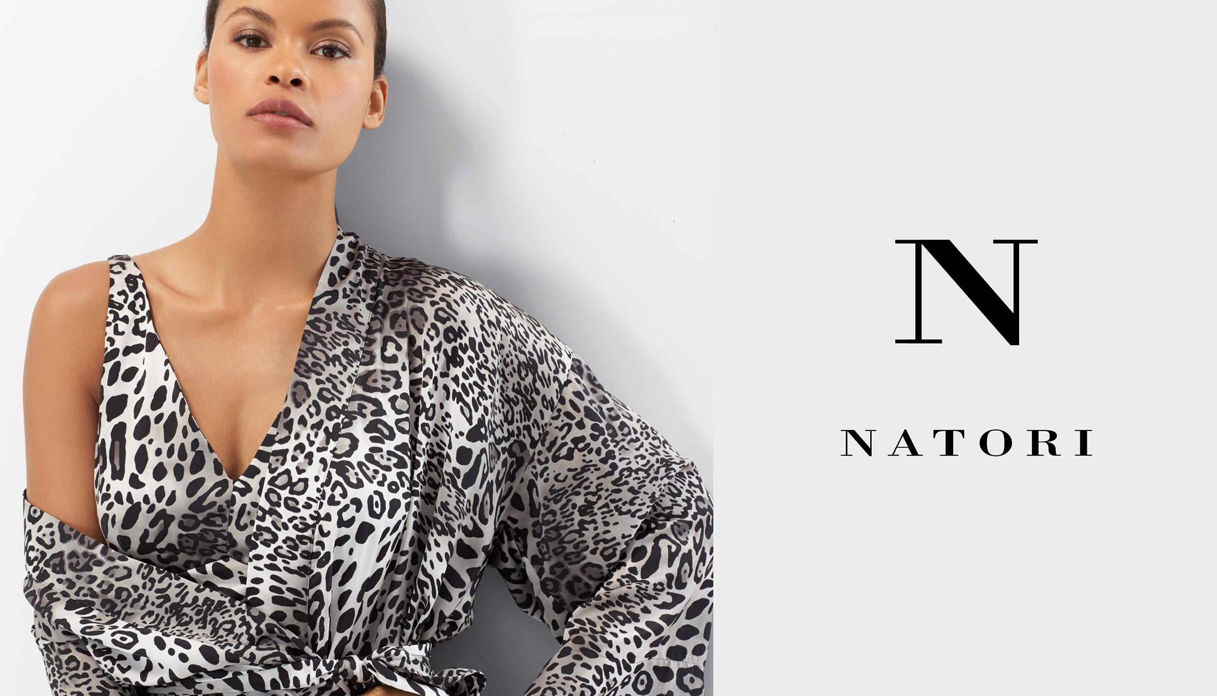 Model wearing N Natori Animale chemise and robe