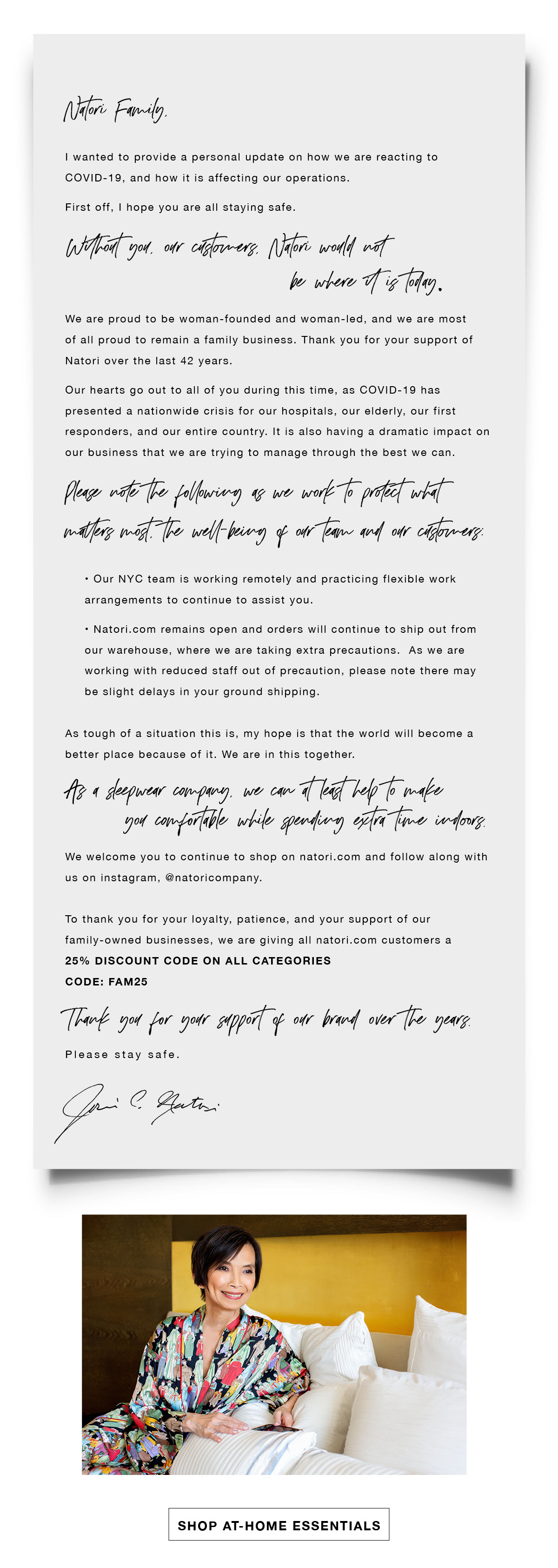 A letter from founder Josie Cruz Natori on COVID-19