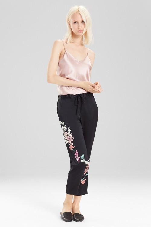 Josie Natori Chrysanthemum Embroidered Pants