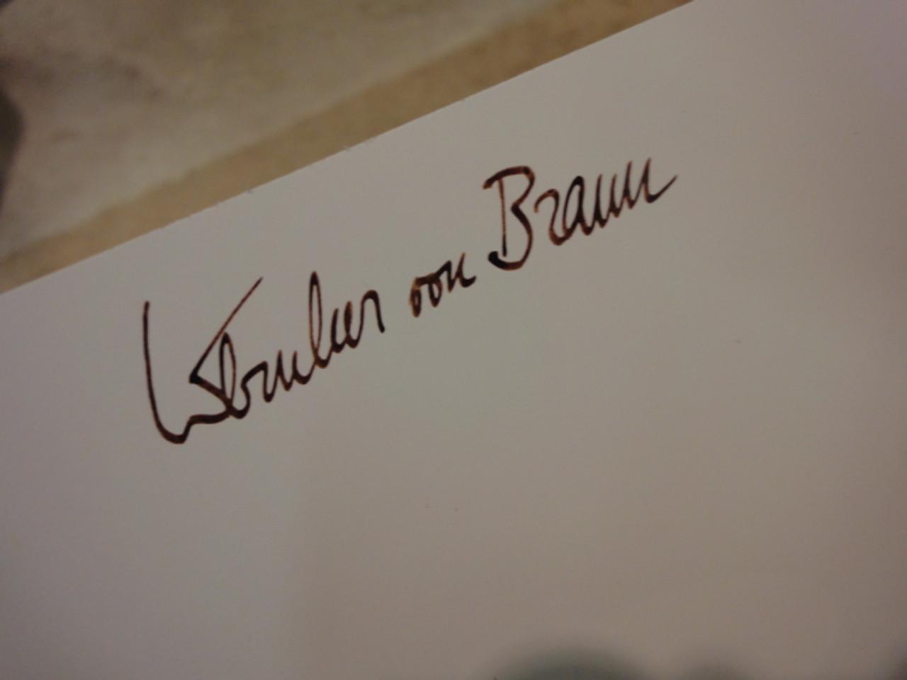 Von Braun, Wernher Signed Autograph Color Space Photo