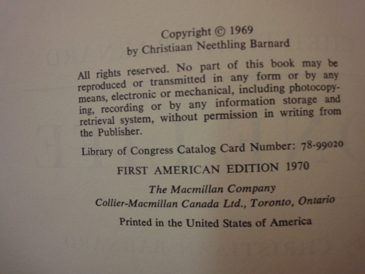"""Barnard, Christiaan Dr. """"One Life"""" 1969 Book Signed Autograph"""