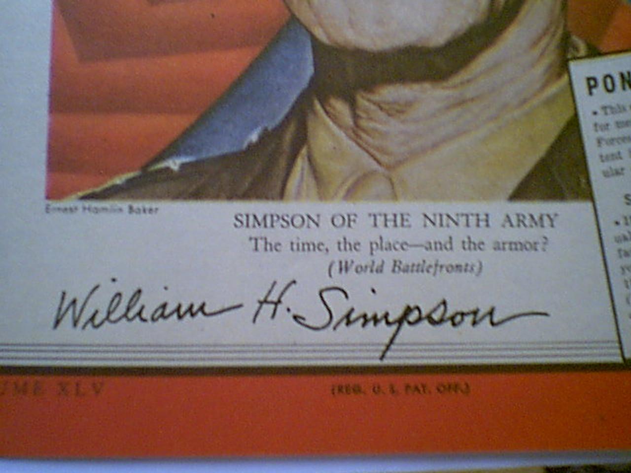 Simpson, General William Hood Time Magazine 1945 Signed Autograph World War Ii