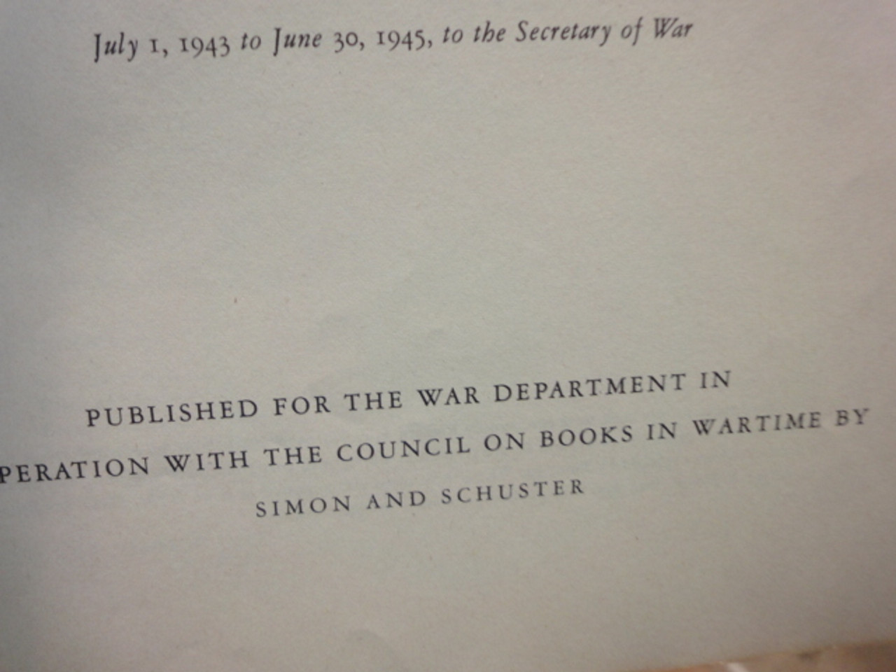 """Marshall, George General """"The Winning of the War in Europe and the Pacific"""" 1945 Book Signed Autograph WW II Photos"""