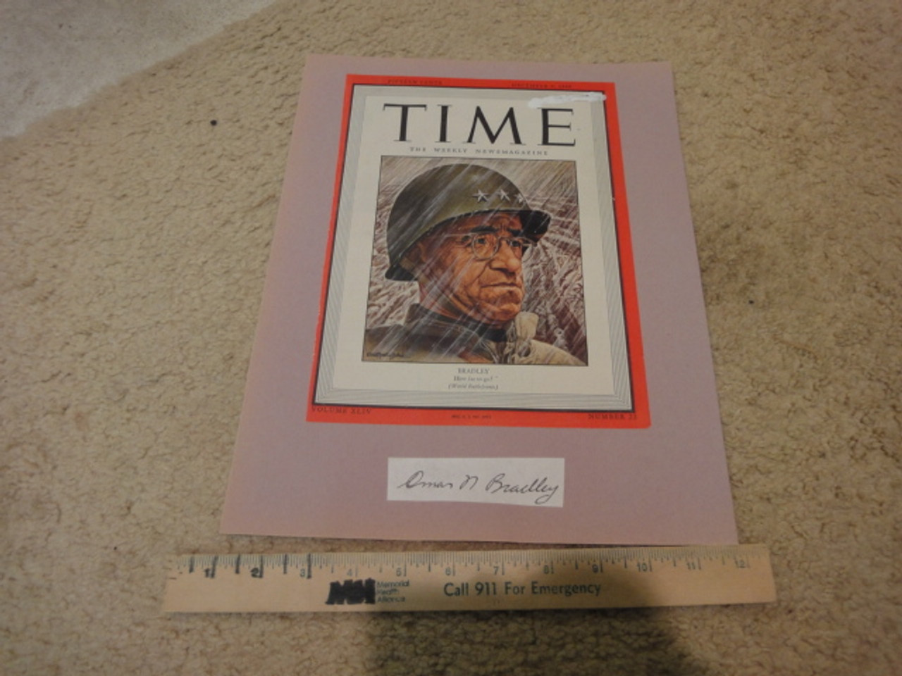 Bradley, Omar General Time Magazine Cover 1944 Signed Autograph Color WW II