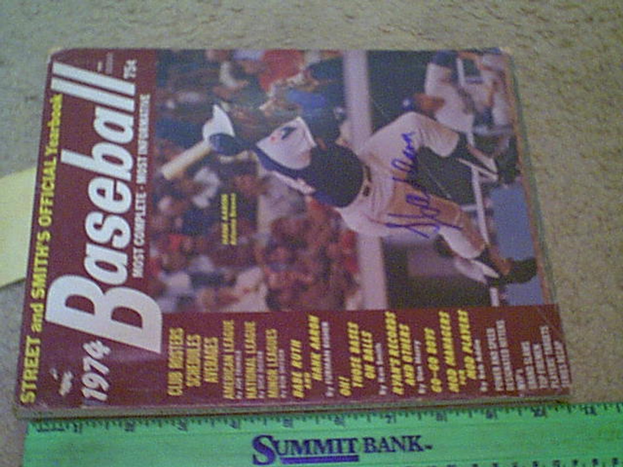 Aaron, Hank 1974 Baseball Magazine Yearbook Signed Autograph Color Cover Photo