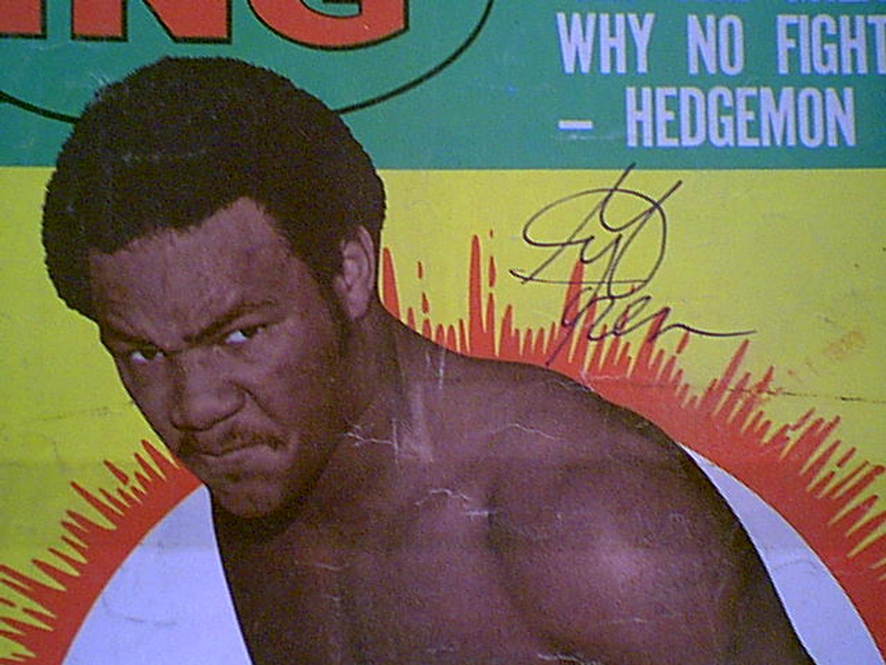 """Foreman, George """"The Ring"""" Boxing Magazine 1974 Signed Autograph Color Cover Photo"""