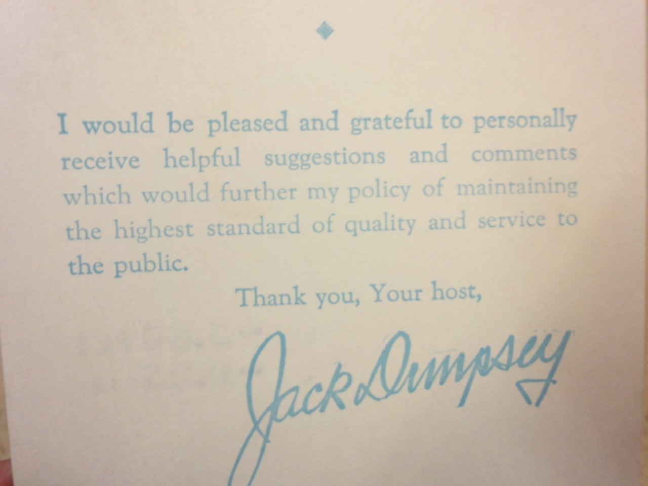 Dempsey, Jack Boxing Signed Autograph Receipt Restaurant and Bar