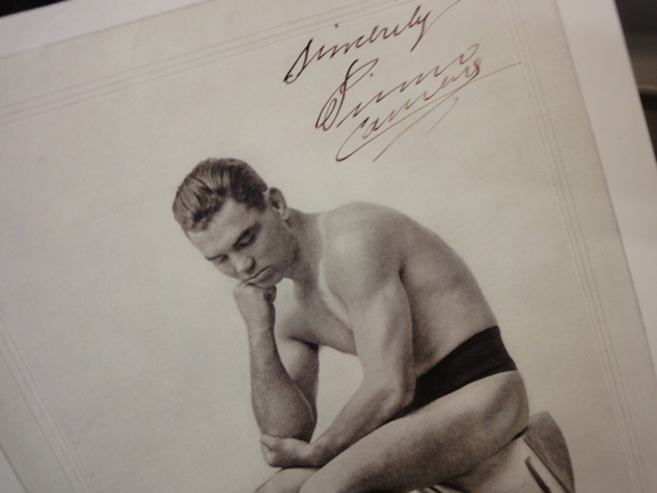 Carnera, Primo Early Photo Signed Autograph Boxing
