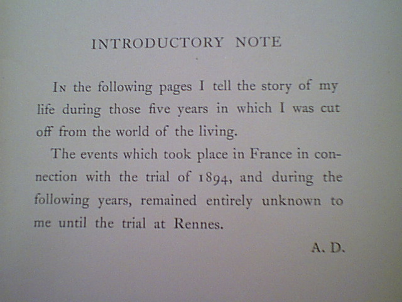 """Dreyfus, Alfred """"Five Years Of My Life 1894-1899"""" Book 1901 Signed Autograph"""