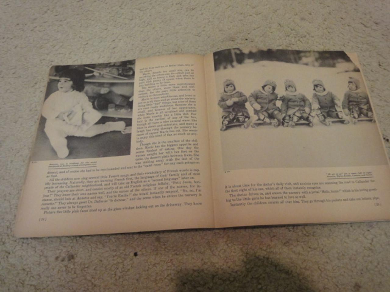 Dionne, Cecile 1937 Photo Book Color Cover Signed Autograph Dionne Quintuplets