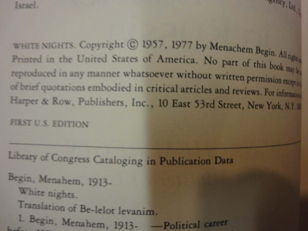 "Begin, Menachem Begin ""White Nights"" 1977 Book Signed Autograph Israel First Edition Begin"