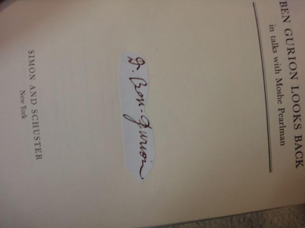 """Ben Gurion, David Prime Minister """"Looks Back"""" 1965 Book Signed Autograph Israel"""