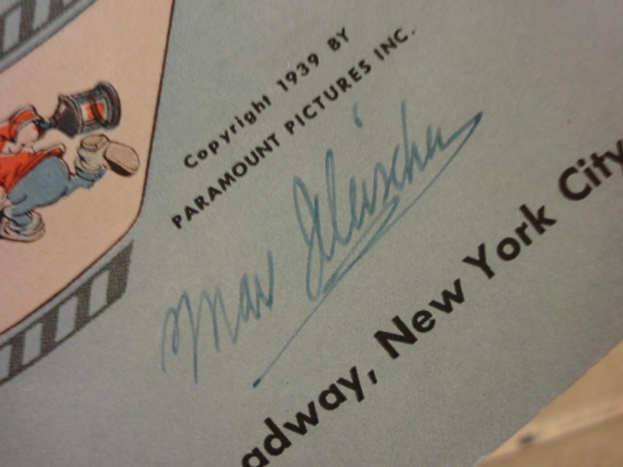 "Fleischer, Max ""Faithful Forever"" 1939 Sheet Music Signed Autograph ""Gulliver's Travels"""