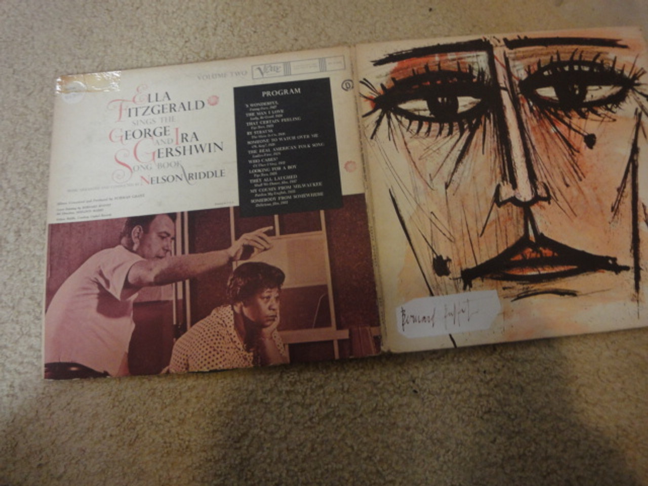 """Buffet, Bernard Jazz LP Cover Signed Autograph """"Ella Fitzgerald Sings The George And Ira Gershwin Song Book"""""""
