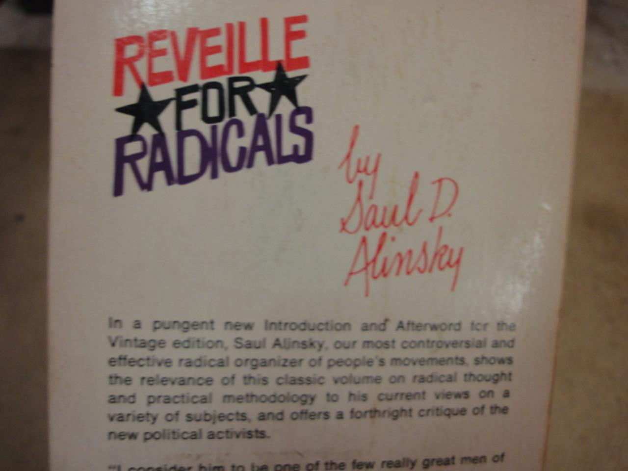 "Alinsky, Saul ""Reveille For Radicals"" 1969 Book Signed Autograph"