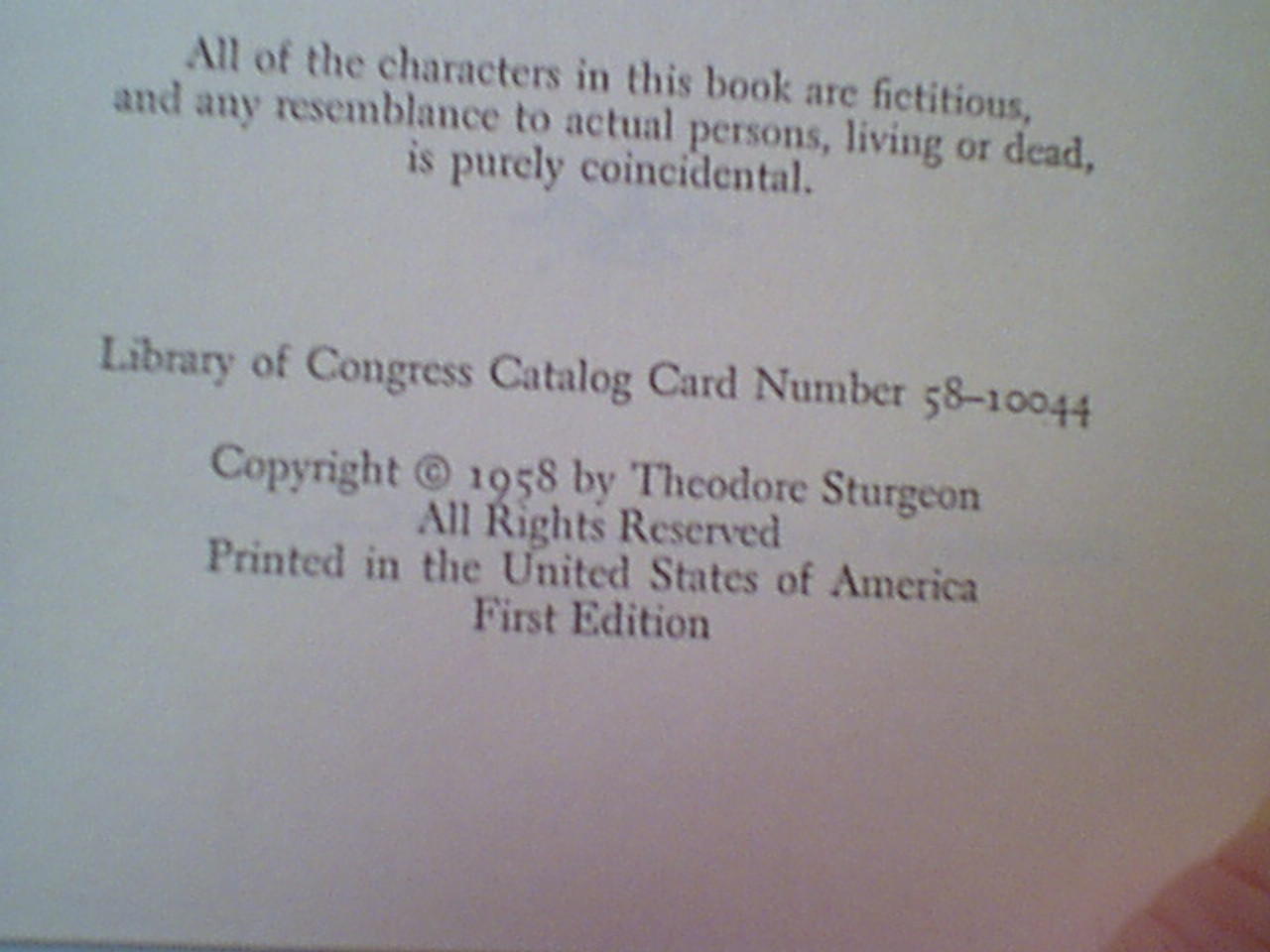 """Sturgeon, Theodore """"A Touch Of Strange"""" 1958 Book Signed Autograph Science Fiction"""
